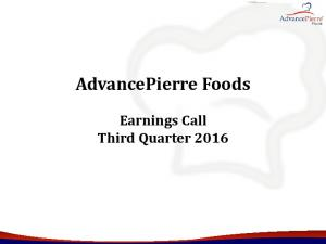 AdvancePierre Foods. Earnings Call Third Quarter 2016