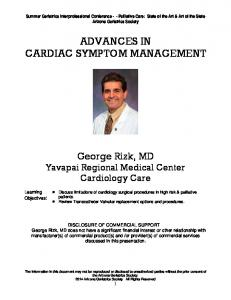 ADVANCES IN CARDIAC SYMPTOM MANAGEMENT