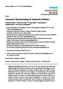 Advances in Nanotechnology for Restorative Dentistry