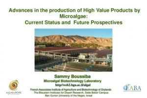 Advances in the production of High Value Products by Microalgae: Current Status and Future Prospectives