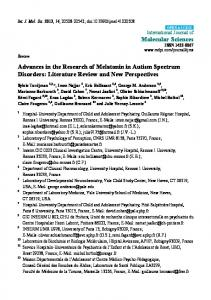 Advances in the Research of Melatonin in Autism Spectrum Disorders: Literature Review and New Perspectives