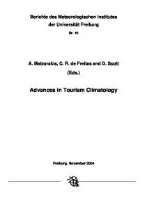 Advances in Tourism Climatology