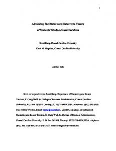 Advancing Facilitators and Deterrents Theory. of Students Study-Abroad Decisions