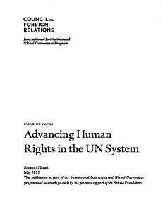 Advancing Human Rights in the UN System