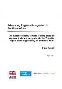 Advancing Regional Integration in Southern Africa