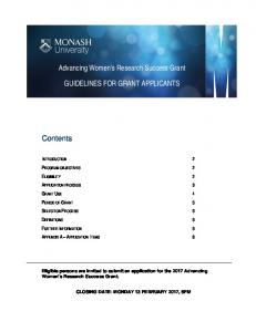 Advancing Women s Research Success Grant GUIDELINES FOR GRANT APPLICANTS