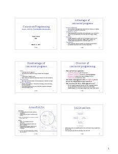 Advantages of concurrent programs. Concurrent Programming Actors, SALSA, Coordination Abstractions. Overview of concurrent programming