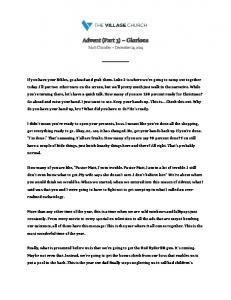 Advent (Part 3) Glorious