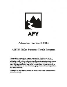 Adventure For Youth A BYU-Idaho Summer Youth Program