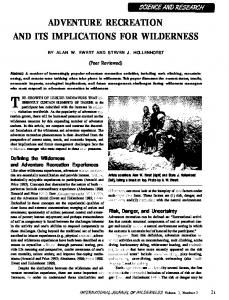 ADVENTURE RECREATION AND ITS IMPLICATIONS FOR WILDERNESS