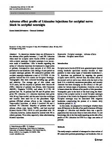 Adverse effect profile of Lidocaine injections for occipital nerve block in occipital neuralgia