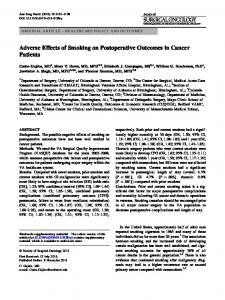 Adverse Effects of Smoking on Postoperative Outcomes in Cancer Patients