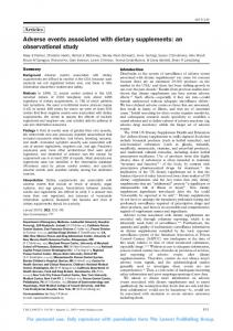 Adverse events associated with dietary supplements: an observational study