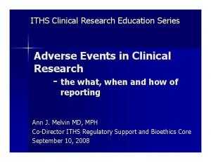 Adverse Events in Clinical Research - the what, when and how of reporting