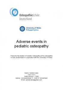 Adverse events in pediatric osteopathy
