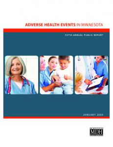 Adverse Health Events in Minnesota FIFTH ANNUAL PUBLIC REPOR T