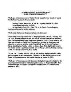ADVERTISEMENT FOR SEALED BIDS SALE OF COUNTY PROPERTY