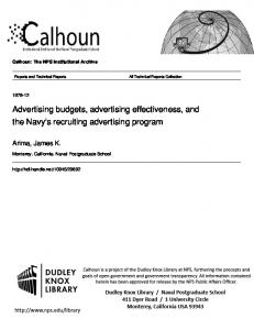 Advertising budgets, advertising effectiveness, and the Navy's recruiting advertising program