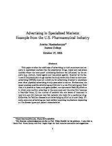 Advertising in Specialized Markets: Example from the U.S. Pharmaceutical Industry