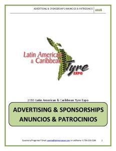 ADVERTISING & SPONSORSHIPS ANUNCIOS & PATROCINIOS