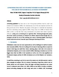 ADVERTISING STRATEGY AND ITS EFFECTIVENESS IN MARKET EXPANSION: THE CASE OF VIETNAMESE SMALL & MEDIUM ENTERPRISES?