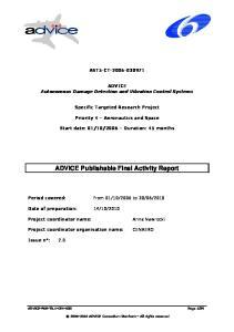 ADVICE Publishable Final Activity Report