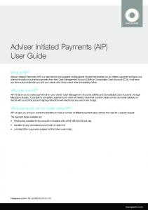 Adviser Initiated Payments (AIP) User Guide
