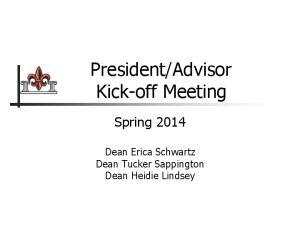 Advisor Kick-off Meeting
