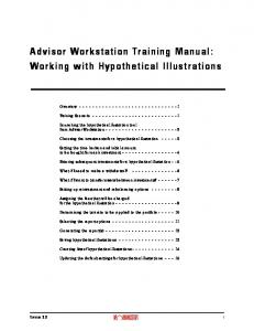 Advisor Workstation Training Manual: Working with Hypothetical Illustrations