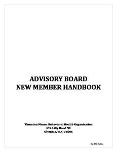 ADVISORY BOARD NEW MEMBER HANDBOOK