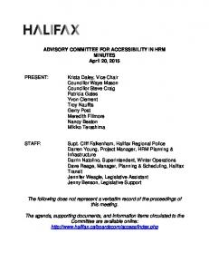 ADVISORY COMMITTEE FOR ACCESSIBILITY IN HRM MINUTES April 20, 2015