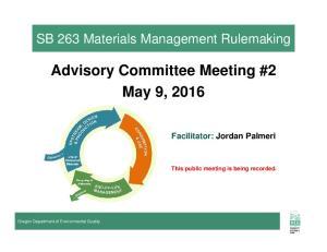 Advisory Committee Meeting #2 May 9, 2016