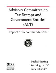 Advisory Committee on Tax Exempt and Government Entities (ACT)
