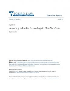 Advocacy in Health Proceedings in New York State