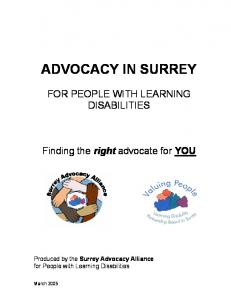 ADVOCACY IN SURREY FOR PEOPLE WITH LEARNING DISABILITIES. Finding the right advocate for YOU