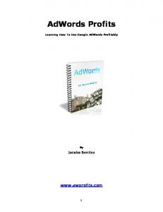 AdWords Profits.  Jacobo Benitez. Learning How To Use Google AdWords Profitably
