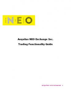 Aequitas NEO Exchange Inc. Trading Functionality Guide