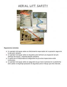 AERIAL LIFT SAFETY. Regulaciones Generales