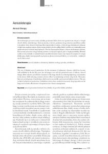 Aerozoloterapia. Aerosol therapy