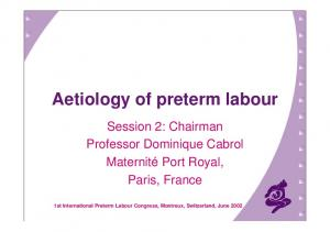 Aetiology of preterm labour