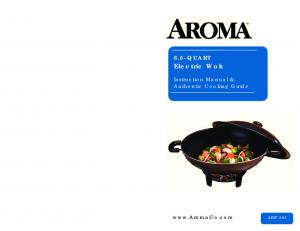 AEW QUART. Electric Wok. Instruction Manual & Authentic Cooking Guide