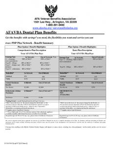 AFAVBA Dental Plan Benefits