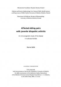 Affected sibling pairs with juvenile idiopathic arthritis