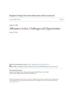 Affirmative Action: Challenges and Opportunities