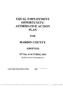 AFFIRMATIVE ACTION PLAN HARDIN COUNTY