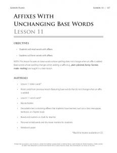 Affixes With Unchanging Base Words Lesson 11