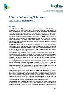 Affordable Housing Solutions Capability Statement