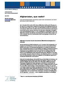 Afghanistan, quo vadis?