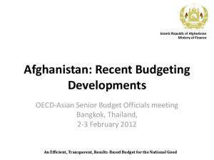 Afghanistan: Recent Budgeting Developments
