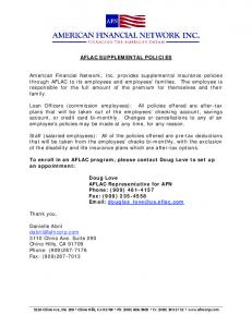 AFLAC SUPPLEMENTAL POLICIES